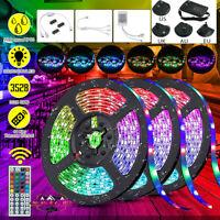 15M/10M/5M RGB 3528 LED Strip Lights Colour Changing+ IR Remote Power Supply 12V