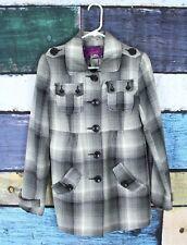 Jack BB Dakota ModCloth Small S Gray Black Plaid Wool Blend Peacoat Pea Coat
