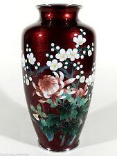 JAPAN Cloisonne Silbersteg Ikebana Vase ° Signet ° 50er Jahre Sato Ando Stil
