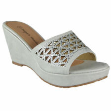 7e74be72f3c Womens Slip on Wedges Ladies Comfy Light Platform High Heel Shoes Sandals  Size Silver UK 6