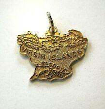 14K Virgin Islands Charm w/ Jump Ring -- Map Of Virgin Islands -- 3.5 grams