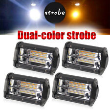 5inch Amber Strobe Led Work Light Bars Backup Pods Offroad UTE Tractor 4WD Cube