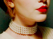 CLASSIC SMART ELEGANT FAUX PEARL AND CHAIN WIDE CHOKER COLLAR NECKLACE NEW