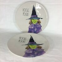 """Rae Dunn by Magenta Set of 2,  11"""" Hocus Pocus Plates Ceramic Witch Halloween*^"""