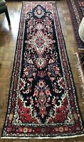 Fine Hand Knotted Tribal Wool Blue Nomadic Oriental runner 11'5 x 3'2