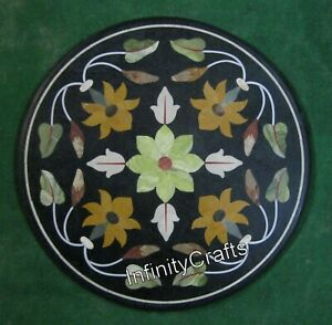 24 x 24 Inches Marble Patio Coffee Table Top Round Shape Sofa Table Inlay Work
