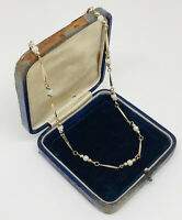 Vintage Necklace 18K Gold Plated With Faux Pearls Collar Length Elegant Dainty
