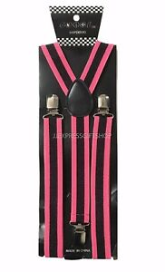 100+ Colors Mens Womens Clip-on Suspenders Elastic Y-Shape Adjustable Braces