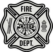 """Firefighter Decal on white vinyl, Fire Department, 3""""wide  #FD123"""