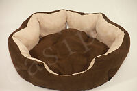 Dog Bed Pet Cat Puppy Soft Suede Deluxe Oval Cushion New 4 sizes