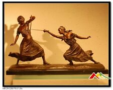 """FEMMES FATALES"" Fencing Foil, signed E.Drouot two girl fencing Bronze Statue"