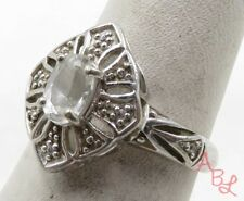 Sterling Silver 925 Filigree Cocktail White Sapphire Ring Sz 7 (2.9g) - 574449