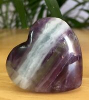 35 mm Fluorite Heart Gemstone Specimen Polished Fluorite Crystal Heart Pocket.