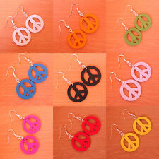 PEACE earrings wood hooks BOHO 20mm hippy red blue pink white silver 60'S RETRO