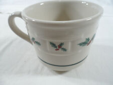 *Longaberger Pottery Woven Traditions Christmas Cup w/Holly design