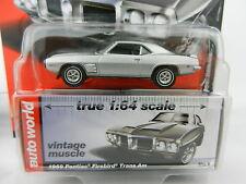 2017 AUTO WORLD 1:64 *PREMIUM 1A* SILVER 1969 Pontiac Firebird Trans Am *NIP*