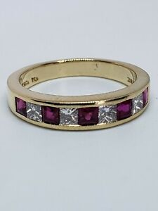 Gently Used Tiffany 18k Channel Set Diamond & Ruby Stack Band 3.8 mm Size 5 1/4
