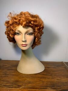 Vintage 1970's Chic  Female Mannequin Head Korea  Dept. Store Display Red Head