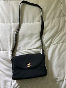 Vintage Authentic 1990s Linen Chanel Cross Body Bag