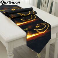 Ramadan Eid Mubarak Table Runner Party Dinner Table Cover Happy Eid Mubarak Deco