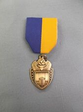 "gold torch football medal blue/gold pin drape 1 1/2"""