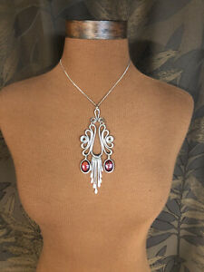 Hammered Wire Swirl Pendant Statement Necklace Red Glass Artist Silver Tone Boho