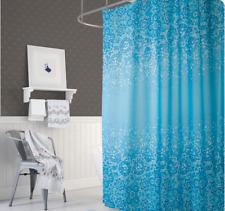 Rideau de douche en tissu bleu blanc mosaïque 120x200 cm 120 large x 200 hauteur