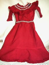 "Antique Beautiful Doll Dress Deep red with Simulated Pearl & Fringes 20 "" Long"