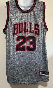 Michael Jordan Authentic Men's NBA Chicago Bulls Jersey #23 Grey Static