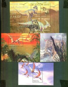 ST. VINCENT BEQUIA DINOSAURS Selection Of 4 Minature Sheets Unmounted Mint MNH