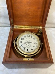 Antique Longines Chronometer in Mahogany Wood Case Runs!, Made in 1942