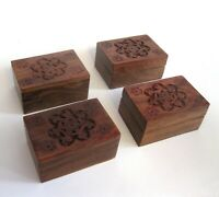 Set of 4 Hand Carved Flowers Wooden Gift Wood Trinket Pill Box Boxes