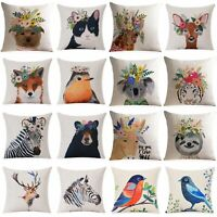 Wreath Animal Home Decor Cotton Linen Pillow Case Sofa Waist Throw Cushion Cover