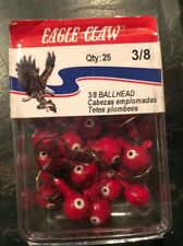 25 RED Eagle Claw Double Eye Ballhead Jigs 3/8 Oz