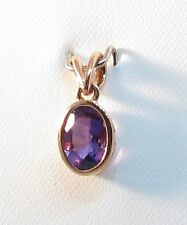 9ct Rose Gold 7x5mm Oval Cut Amethyst Pendant.