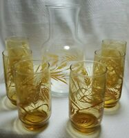 Vintage Libbey Golden Wheat Clear Juice Carafe Pitcher With 6 Amber Glass Cups