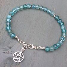 925 Sterling Silver Apatite 6mm Bead Bracelet & Pentagram charm Wicca Pagan