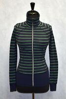 B0 Auth LULULEMON ATHLETICA Navy Green Striped Tumbhole Activewear Jacket Size 2
