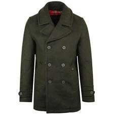 Black Wool Outer Shell Pea Coat Coats & Jackets for Men