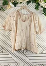 The Great. Floral Embroidered Cotton Blouse Size 1 neutral color READ*
