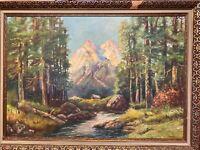 Antique ORIGINAL COPY OF Robert Wood's MAJESTIC PEAKS Painted By C. Winfrey