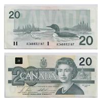 1991 $20 Bank of Canada Bonin Thiessen Prefix AIW with Serifs -  AU
