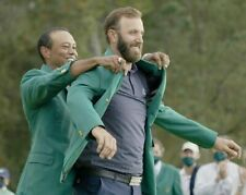 Dustin Johnson Tiger Woods 2020 Masters UNSIGNED 8X10 photo B