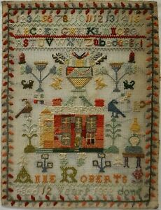 LATE 19TH CENTURY HOUSE, MOTIF & ALPHABET SAMPLER BY ANNE ROBERTS AGED 12 - 1882