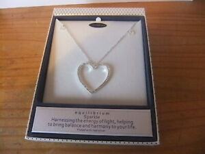 STUNNING EQUILIBRIUM NECKLACE CRYSTAL  HEART PENDANT PLATED WITH REAL SILVER