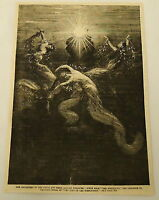 1887 magazine engraving ~ SCENE FROM WAGNER'S RHEINGOLD ~ daughters of..., opera