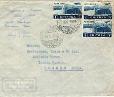 Italy Colonies 1939 Cover ERITREA Used Addis-Abeba ETHIOPIA Air LEATHER MA829