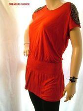 Beaded Cap Sleeve Hip Length Tops & Shirts for Women