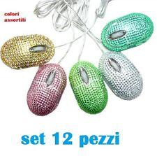 Set 12 Pezzi Mini Mouse Ottico Con Brillantini Strass Usb Pc Colorati hsb