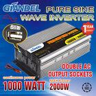 Large Shell Pure Sine Wave Power Inverter 1000W/2000W 12V-240V Car Plug Cable